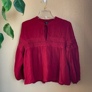 Forever 21 Lace Cut Rose Red Blouse. 🌹🥀
